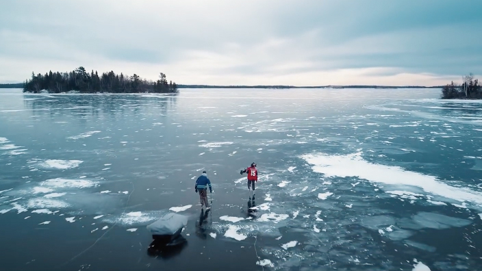 ice fishing on lake of the woods