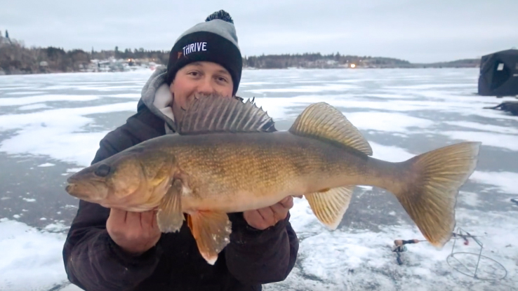 ice fishing for walleye