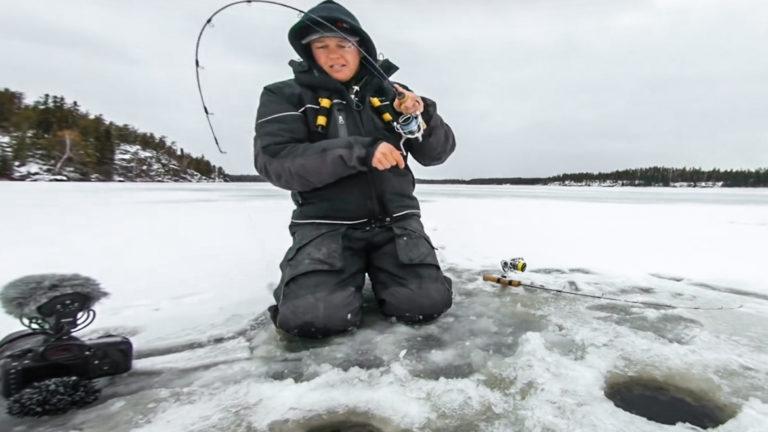 ice fishing for walleye